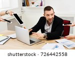young stressed and overworked... | Shutterstock . vector #726442558