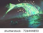 fantasy scenery of man on boat... | Shutterstock . vector #726444853