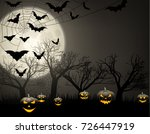 grey halloween background with... | Shutterstock .eps vector #726447919