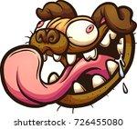 crazy pug head. vector clip art ... | Shutterstock .eps vector #726455080