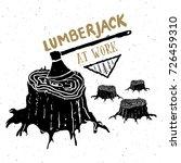 lumberjack at work vintage... | Shutterstock .eps vector #726459310
