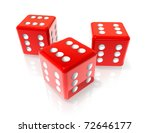 Three 3d Red Dices With Six On...