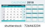 calendar planner 2018 year.... | Shutterstock .eps vector #726463234
