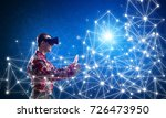young man with virtual reality... | Shutterstock . vector #726473950
