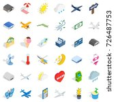 fly icons set. isometric style... | Shutterstock .eps vector #726487753