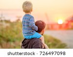 happy man and his child having... | Shutterstock . vector #726497098