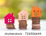 stack coins with house model... | Shutterstock . vector #726506644