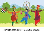 happy baisakhi. man and woman... | Shutterstock .eps vector #726516028