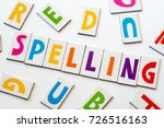 word spelling  made of colorful letters on white background