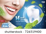 mint whitening toothpaste ads ... | Shutterstock .eps vector #726519400