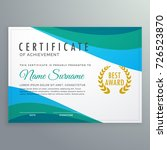abstract blue wave certificate... | Shutterstock .eps vector #726523870