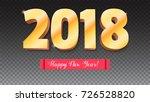 happy new year 2018. volumetric ... | Shutterstock .eps vector #726528820