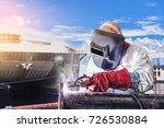 worker arc welder piping... | Shutterstock . vector #726530884