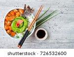 hawaiian salmon poke bowl with... | Shutterstock . vector #726532600