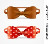 realistic 3d bow tie set brown... | Shutterstock .eps vector #726535684