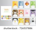 funny animal calendar 2018... | Shutterstock .eps vector #726537886