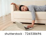 young young man fell asleep... | Shutterstock . vector #726538696