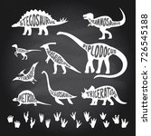 set of dinosaurs with lettering ...   Shutterstock .eps vector #726545188