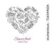 vector hand drawnn superfood in ... | Shutterstock .eps vector #726549604