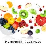 fresh mixed fruits falling on...   Shutterstock . vector #726554203
