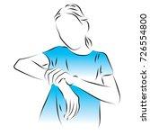 woman holds her wrist  hand.... | Shutterstock .eps vector #726554800