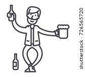 drunk man vector line icon ... | Shutterstock .eps vector #726565720