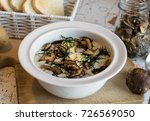 creamy soup of forest mushrooms ... | Shutterstock . vector #726569050