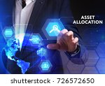 Small photo of The concept of business, technology, the Internet and the network. A young entrepreneur working on a virtual screen of the future and sees the inscription: Asset allocation