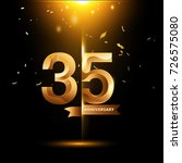 35 years anniversary with gold... | Shutterstock .eps vector #726575080