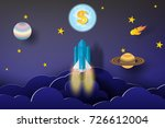 rocket start up dollar... | Shutterstock .eps vector #726612004
