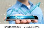 Small photo of Businessman on blurred background using digital modern arrow over mobile phone 3D rendering