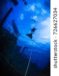 silhouette of a freedive ... | Shutterstock . vector #726627034
