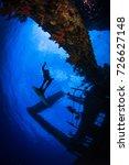 silhouette of a freedive ... | Shutterstock . vector #726627148