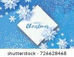 white origami snowfall. merry... | Shutterstock .eps vector #726628468