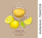 cup of lemon tea on color...   Shutterstock .eps vector #726642118