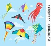 vector flat style set of kites...   Shutterstock .eps vector #726650863