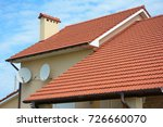 modern house with chimney  red... | Shutterstock . vector #726660070