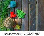 christmas background. frame of... | Shutterstock . vector #726663289