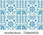 folk art vector seamless... | Shutterstock .eps vector #726664420