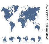 world map. europe asia america... | Shutterstock .eps vector #726665740