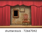Red Stage Theater Drapes - stock photo