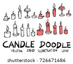 hand drawn candle isolated.... | Shutterstock .eps vector #726671686