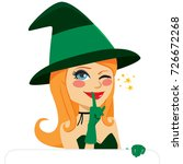 lovely witch with white banner... | Shutterstock .eps vector #726672268