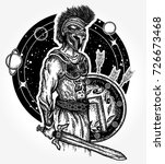 legionary of ancient rome and... | Shutterstock .eps vector #726673468