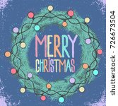 merry christmas text in pine... | Shutterstock .eps vector #726673504