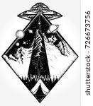 ufo tattoo art and t shirt... | Shutterstock .eps vector #726673756