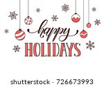 happy holidays postcard... | Shutterstock . vector #726673993