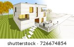 house  architectural sketch  3d ... | Shutterstock . vector #726674854