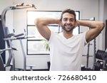 happy gym dude with hands... | Shutterstock . vector #726680410