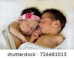 newborn twins boy and girl... | Shutterstock . vector #726681013